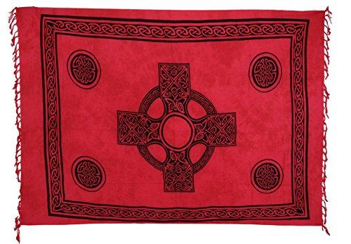 Sarong ca. 170cm x 110cm Handgearbeitet inkl. Sarongschnalle im Schmetterling Design - Viele exotische Farben und Muster zur Auswahl - Pareo Dhoti Lunghi Keltisch Rot Batik