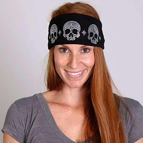 skulls-high-quality-cotton-polyester-material-with-rhinestone-design-black-bling-wrap