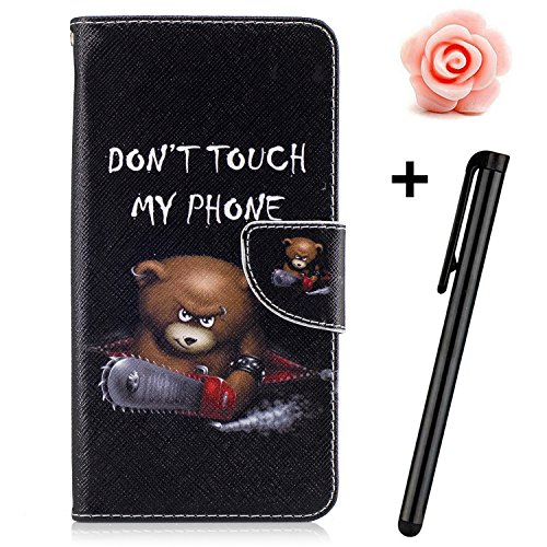 Price comparison product image Nokia Lumia 650 Case,Lumia 650 Flip Wallet Case,TOYYM Premium Bear Pattern PU Leather Wallet Case Cover Pouch [Magnetic Closure] with Card Slots for Nokia Lumia 650,Kickstand,Credit Card Holder,Book Style Flip Wallet with Flower Dust Plug & Stylus