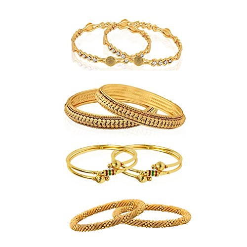 Combo of Royal Style Broad Gold Plated Bangles Set Of 8 (2.4)