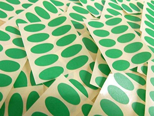 25x12mm Verde Medio Forma Ovalada Etiquetas, 100 auta-Adhesivo Código De Color Adhesivos, adhesivo óvalos para Manualidades y Decoración