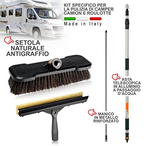 Nettoyage camping-car, caravane, camion, voiture, bus. Doux poils naturels inrayable. Convient pour nettoyage de PV et panneaux solaires