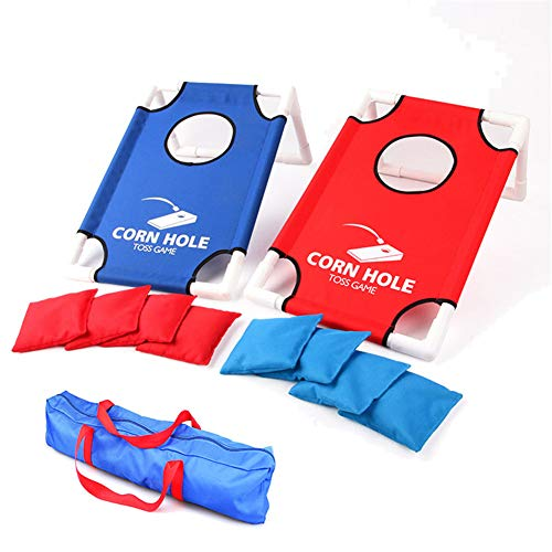 XWWS Cornhole Game Set - Sandsäcke-Wurfspiel, tragbares PVC-Gestell, Sandsack-Brettset mit 8 Sitzsäcken und Reisetasche (Boards Bean Bag Toss)