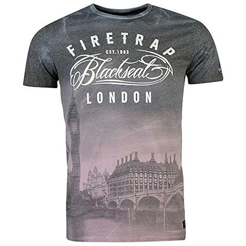 Firetrap Blackseal Herren Big Ben T Shirt Leicht Rundhals Kurzarm