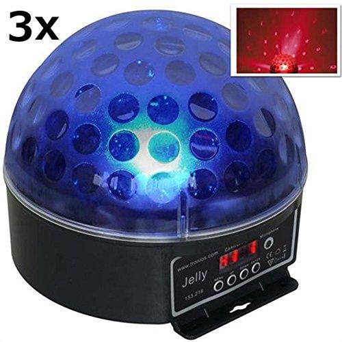 Beamz Magic Jelly DJ-Ball 3er Set Party- und Diskolicht LED-Beleuchtung (RGB, 6-Kanal-DMX,Musikteuerung, Master-Slave)