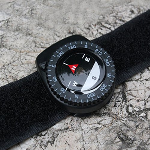 denshine Armband Kompass mit schwarzem Nylon Band ideal für Clipping auf Uhren Gürtel Taschen und Taschen
