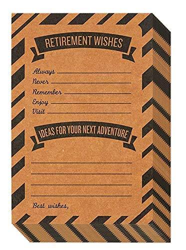 50Stück Ruhestand gut Wish und Beratung Karten-Fill In Ruhestand Wünsche und Ideen für Abenteuer-inkl. Umschläge-Perfekt für Ruhestand Parteien, 10,2x 15,2cm, Kraft