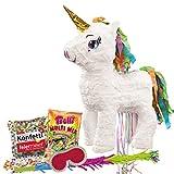 PartyMarty Pinata-Set: Pinata Süßes Einhorn mit Goldenem Horn + Schläger + Maske + Trolli Süßigkeiten-Füllung + Konfetti - für Einhorn und Fabelwesen Fans Kindergeburtstag