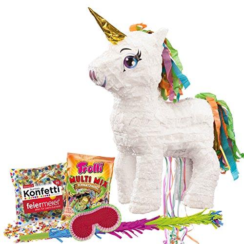 (PartyMarty Pinata-Set: Pinata Süßes Einhorn mit Goldenem Horn + Schläger + Maske + Trolli Süßigkeiten-Füllung + Konfetti - für Einhorn und Fabelwesen Fans Kindergeburtstag)