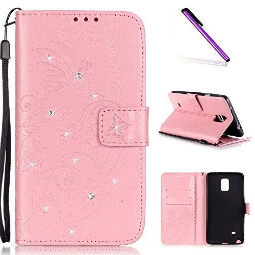 e 4 Case Glitzer Bling Diamant Schmetterling Flip Leather Leder Schutzhülle Ledertasche Lederhülle Handyhülle Hülle für Samsung Galaxy Note 4,Pink Butterfly with Diamond ()