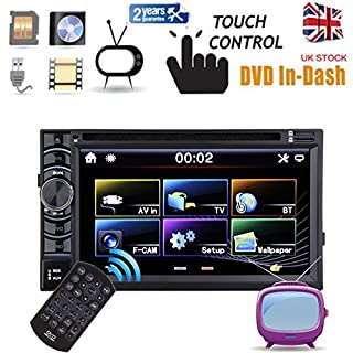 Head Unit In Dash 2 Double Din Car DVD Player Stereo Radio CD Bluetooth AUX USB SD Touch Screen FM AM