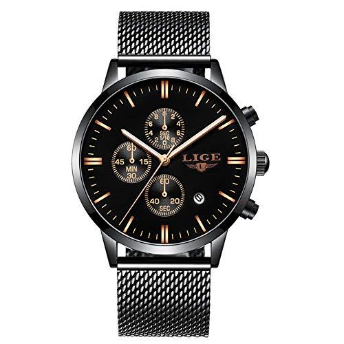 LIGE Herren Uhren Fashion Wasserdichte Quarz Analog Uhr Mann Edelstahl Sport Chronograph Luxus Elegante Datum Schwarz Armbanduhr