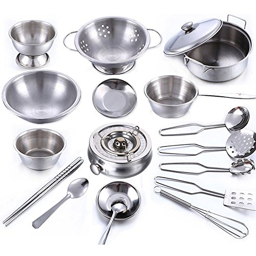 BulzEU Stainless Steel Kids Kitchen Toy Cookware Set Pretend Play Role Play Toy Play Food Toy Educational Game For Children Toddler Baby Girls Boys Xmas Gift