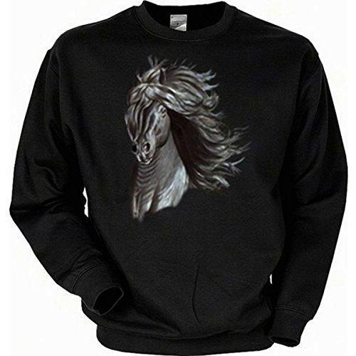 ähne Pferde Horse Sweatshirt Gr L in schwarz (Biker Halloween Kostüme Für Hunde)