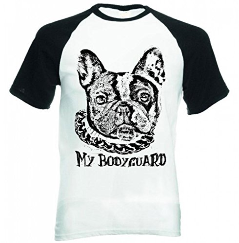 teesquare1st-french-bulldog-white-black-my-bodyguard-pbs-maniche-corte-nere-t-shirt-size-xxlarge