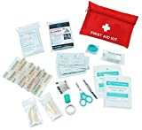 Premium Mini Small First Aid Kit Bag 63 piece - Includes Emergency Blanket, Scissors for Travel, Home, Office, Car, Camping, Workplace (Red)