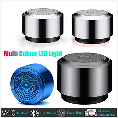 BOOMING Bluetooth-Lautsprecher, Bluetooth-Lautsprecher tragbarer drahtloser, Mini-Bluetooth-Lautsprecher USB-LED-Licht drahtlose tragbare Musikbox (Schwarz)