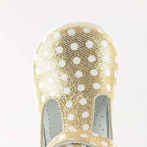 Chaussures en cuir Emel fabriquées main en UE – Style décontracté à pois doré et blanc - pointure 22 or