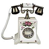 YiYi SHOP phoe Europäische Retro-Telefon, Jahrgang Drehscheibe Zifferblatt Antik Festnetz-Telefon, Handbemalt Vintage Holz Handwerk Geschenk