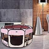 AQPET Box per Animali Cani e Gatti Cuccioli recinto Pieghevole Tessuto Impermeabile (Rosa, Rosa)