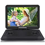 "NAVISKAUTO 16.5"" Portable DVD Player with 14 Inch 270° Swivel Screen Inbuilt 7 Hours Rechargeable Battery, Direct Play in Formats AVI/MP3/JPEG Support Region Free USB/SD/MMC Playback"