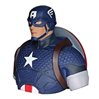 Licensed Marvel superhero money bank Captain America bust with a slot to insert coins Detailed collector figurine / bust Ideal gift for superhero fans Size 19 cm high