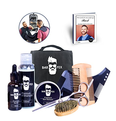Premium Bartpflegeset für Männer von BarFex (9-Teile) | Bartöl, Balsam, Shampoo, Bürste, Kamm, Schere, Schablone, Schürze | Das Bartpflege Set mit Kulturtasche zum Aufhängen + Bartpflege Anleitung