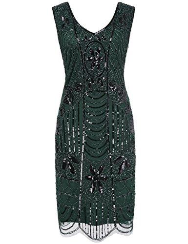 Kayamiya Damen Retro 1920er Perlen Pailletten Blatt Art Deco Gatsby Flapper Kleid M Grün