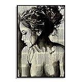 Abstrakt Zeitung Mädchen-Frauen-Side-Gesicht Ölgemälde Plakat für Schlafzimmer Wohnzimmer Leinwand Kunstwerk Bild Sunlera