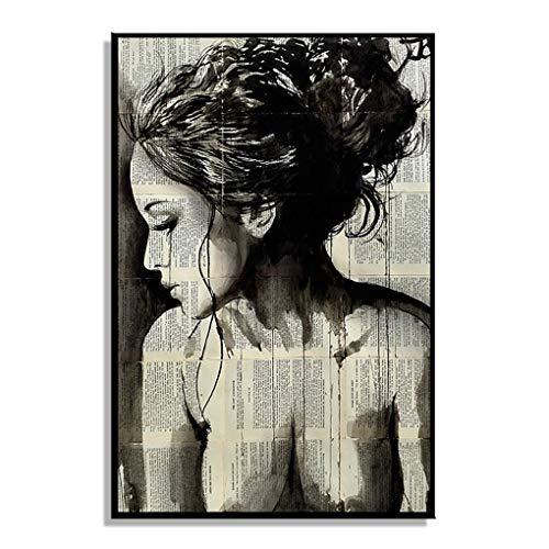 Abstrakte Mädchen (Abstrakt Zeitung Mädchen-Frauen-Side-Gesicht Ölgemälde Plakat für Schlafzimmer Wohnzimmer Leinwand Kunstwerk Bild Regard)