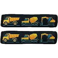 HECKBO® Auto Gurtschutz Sicherheitsgurt Schulterpolster Schulterkissen Autositze Gurtpolster für Kinder, Jungen/Jungs mit Baufahrzeuge, Bagger