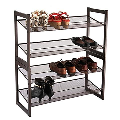 LANGRIA Étagère a Chaussures Métallique 4 Tablettes, Capacité 16 Paires, Meuble Rangement Entrée Maison, Chambre, Foyer (Bronze)