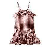 LEXUPE Bekleidung Kleinkind Kinder Baby Mädchen Kleidung Karo Rüschen Party Pageant Princess Dress