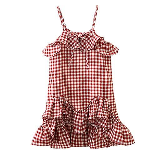 KIMODO Kleinkind Baby Mädchen Kleid Plaid Rüschen Kleider Party Urlaub Prinzessin Ärmellos Sommerkleid Outfit Kleidung -