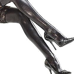 elegantstunning Lencería Sexy para Mujer Muslo Alto Lycra Wet Look Medias Legging de Piel Sintética Negra Con Encaje