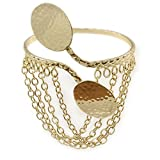 Gold ton Double Oval Disk, Oberarm/Armbinde Armband mit Ketten – verstellbar