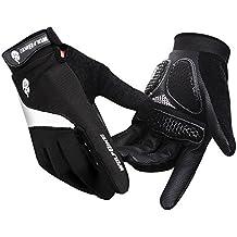 Hombres/Mujeres Guantes de ciclismo Mountain Bike Guantes Carreras de carretera guantes de ciclismo luz silicona Gel Pad Guantes de ciclismo dedo completo, color negro, tamaño XL