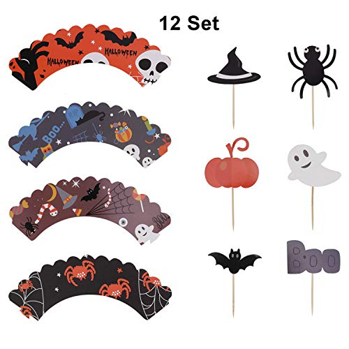 Halloween Cupcake Deko-Set, Messar 12 PCS Halloween-Stil Cupcake-Förmchen und 12 PCS Halloween Party Cupcake Topper Picker Mini Kürbis Spider Ghost Hat Fledermaus Boo Muster Style A