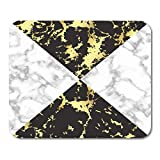 HOTNING Alfombrillas de ratón Abstract Marble in Black White and Gold Flayer Artistic 11.8'x 9.8' Decor Office Nonslip Rubber Backing Mousepad Mouse Mat