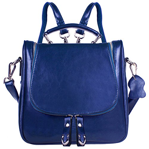 S-ZONE donne della signora Girls Retro Trio Piccolo Genuine Leather Backpack Satchel Crossbody borsa blu