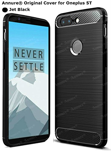 Annure Brushed Shockproof [Perfect Cutout for Alert Slider] Back Cover Case for OnePlus 5T / One Plus 5T ( Black )