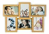 levandeo Holz Bilderrahmen Farbe: Eiche Natur braun hochwertig verarbeitet für 6 Fotos 10x15cm mit Glasscheiben - Fotogalerie Collage Fotocollage Bildergalerie Fotorahmen
