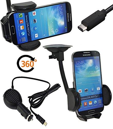 Favory Lenovo Moto Z LTE | Universal KFZ PKW Auto Halterung | 360° Drehbar - Halter Autohalterung | geignet Auch mit Bumper - Case - Tasche - Hülle + Gratis USB-C KFZ Ladekabel USB Typ C Kabel 12-24V
