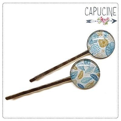 2 pinces fleurs et feuilles bronze et cabochons verre - pinces cheveux fleurs - Barrettes cheveux illustrées - Fleurs en Filigrane