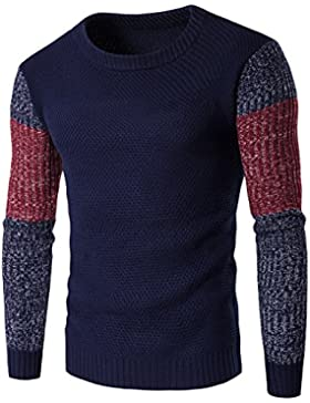 QIN&X Los hombres gruesos tejidos Cable cuello redondo manga larga Sudadera superior Knitwear