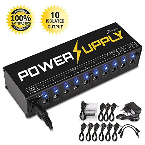 Donner® Fuente de alimentación para pedal de Guitarra, 10 salidas aisladas de 9V/12V/18V, indicador LED, cables incluidos