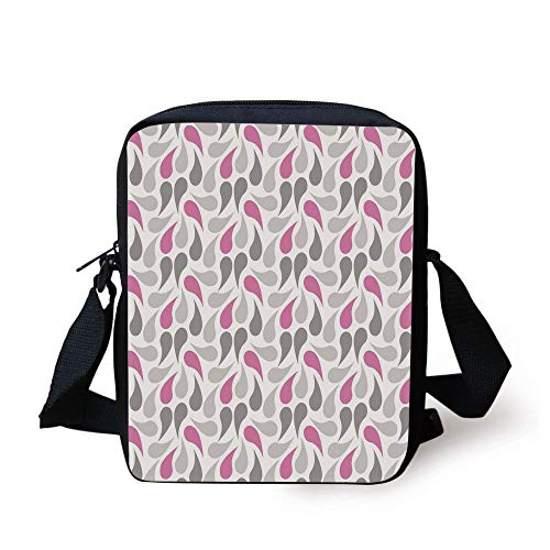 Geometric,Persian Civilization Influenced Geometric Pattern Teardrop Shapes Curved Tip Decorative,Pink Grey White Print Kids Crossbody Messenger Bag Purse -