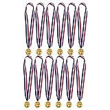 12-Pack gouden medailles voor voetbal - voetbal medailles - winnaar medailles, 2 inch in diameter met 30-inch lint