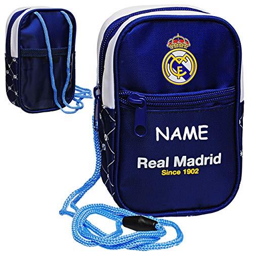 Unbekannt Brustbeutel / Handytasche / Geldbörse - Fußball - Real Madrid - FCM - inkl. Name - mit Sichtfenster - Geldbeutel - Portemonnaie für Kinder - Geld Handy Geldta..