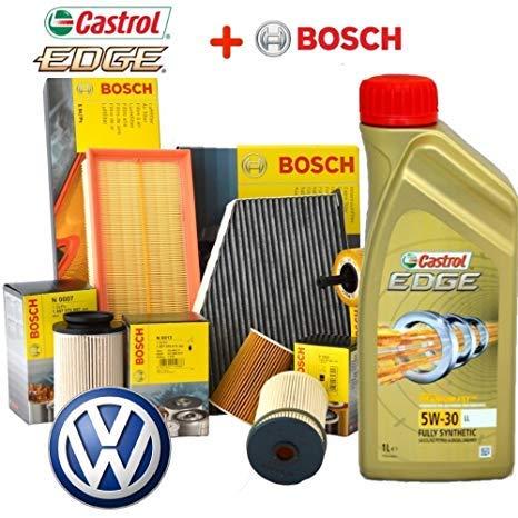 Bosch Kit Cambio Olio CASTROL 5W30 Edge LONGLIFE LT5 +4 FILTRI Audi Q3 Anno 2011 KW103 CV140 Tipo Motore CFFB - CLJA